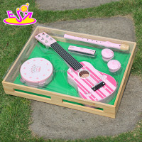 Educational toy music set toy,Kids Wooden set toy instrument music,Included guitar,flute,drum,harmonic,castanet W07A035-A1