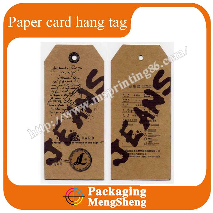 Cardboard new china designs jeans hang tags