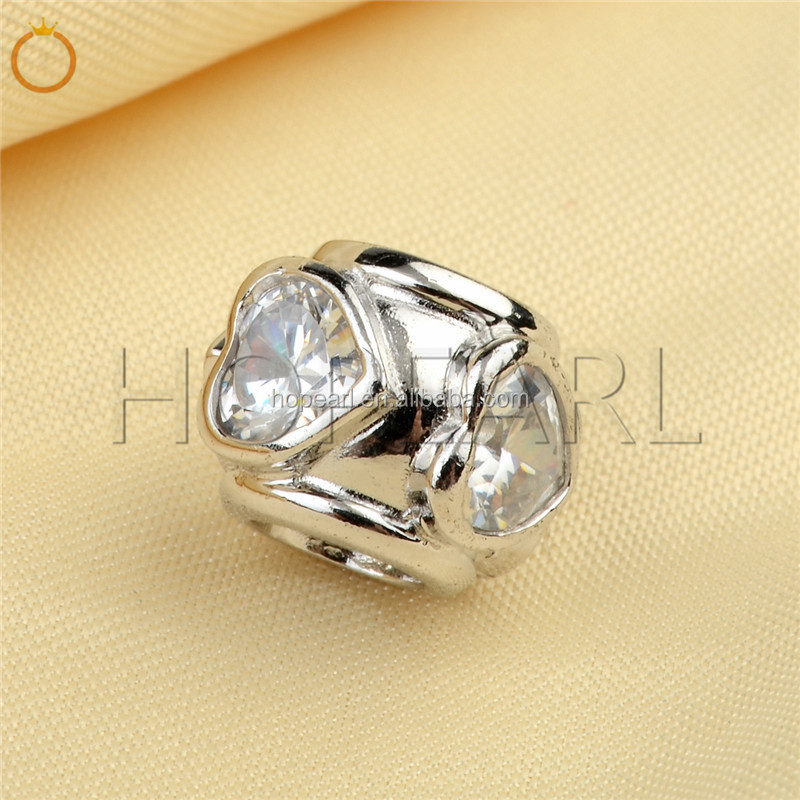LHB03 DIY Beads 925 Sterling Silver with Heart Cubic Zirconia Stone Charms for Jewelry Making Large Hole Bead