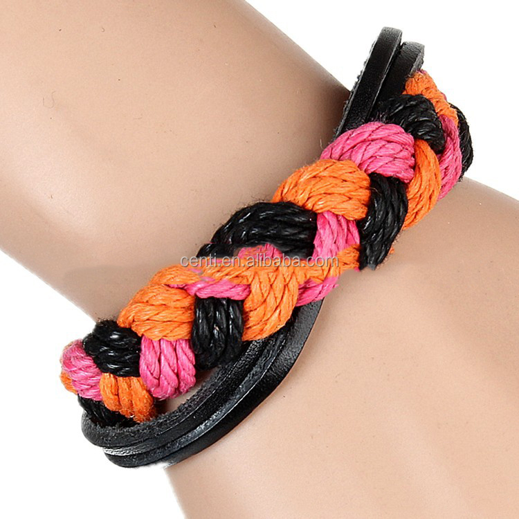 Multi layer braided leather and jute cord bracelet colourful leather bracelet wholesale