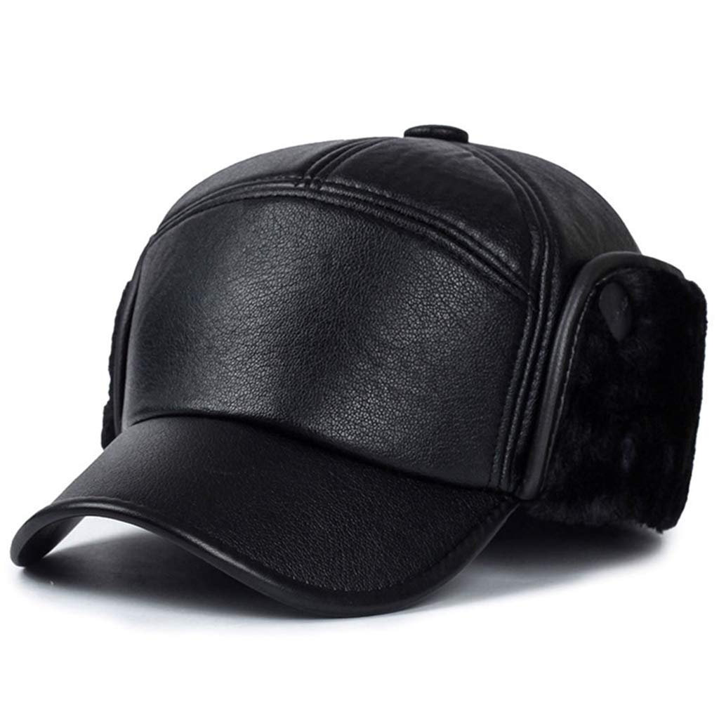 67ac1da2862 Get Quotations · Winter Trooper Hat Men Winter Lambskin Baseball Earflaps  Fleece Earmuffs Cap Leather Hat