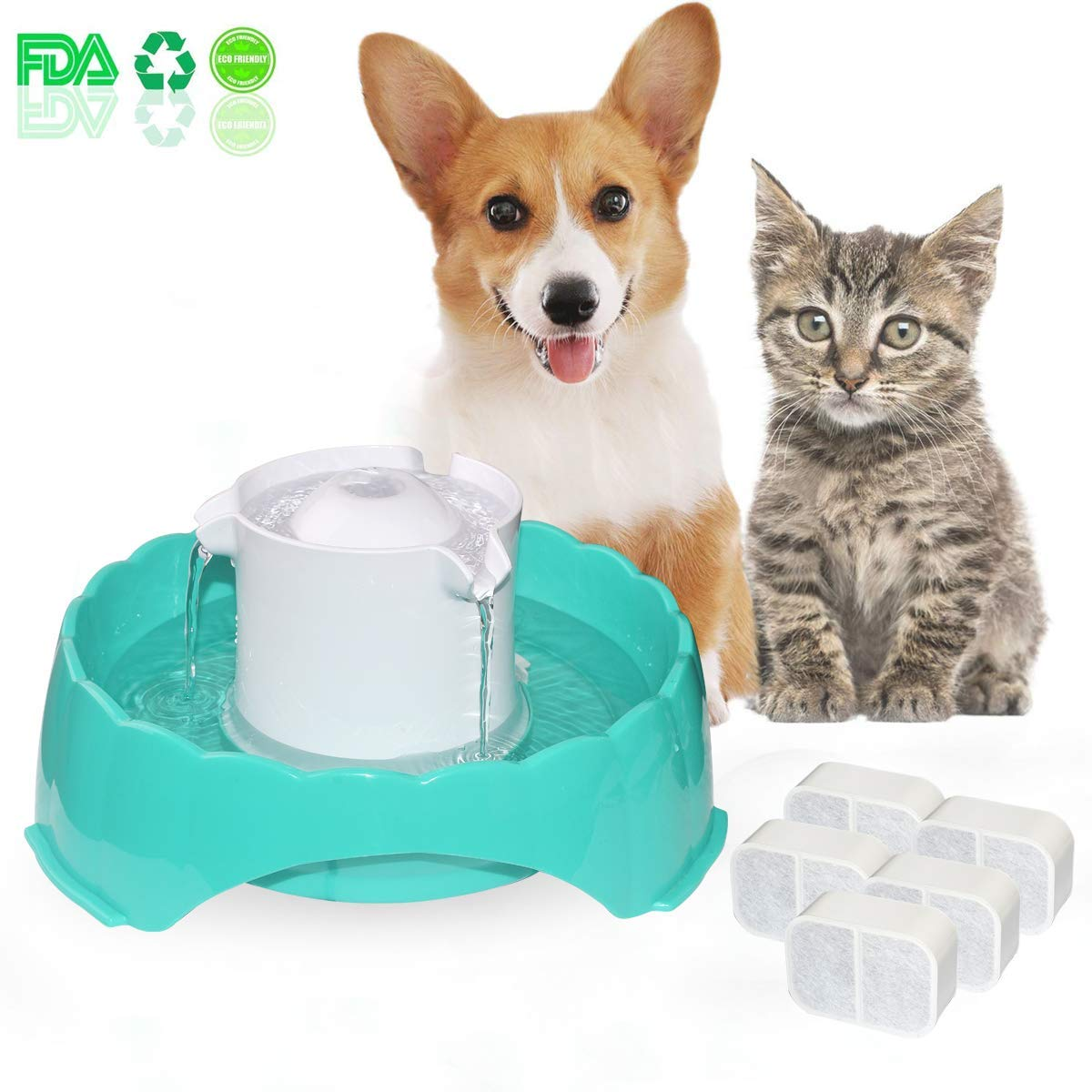 Pet Water Fountain Drink Dispenser, Multi-Functional Smart Circulating Water Dispenser, 5 Drinking Ways Automatic Feeder 5PCS Replacement Filters, Super Silent DC 5V Pet Water Bowl for Cats and Dogs