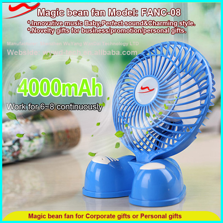 Magic Bean fan/Smart desktop mini electric fan with USB rechargeable battery