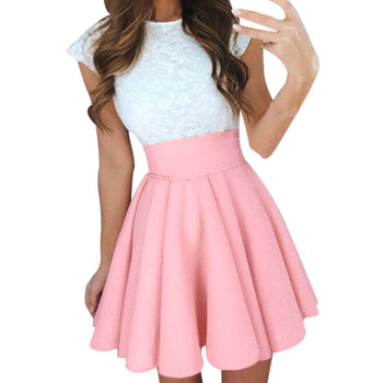 Midi Skirts Womens Summer Solid High Waist simple Skater Skirt Ladies Party Cocktail Mini Skirts