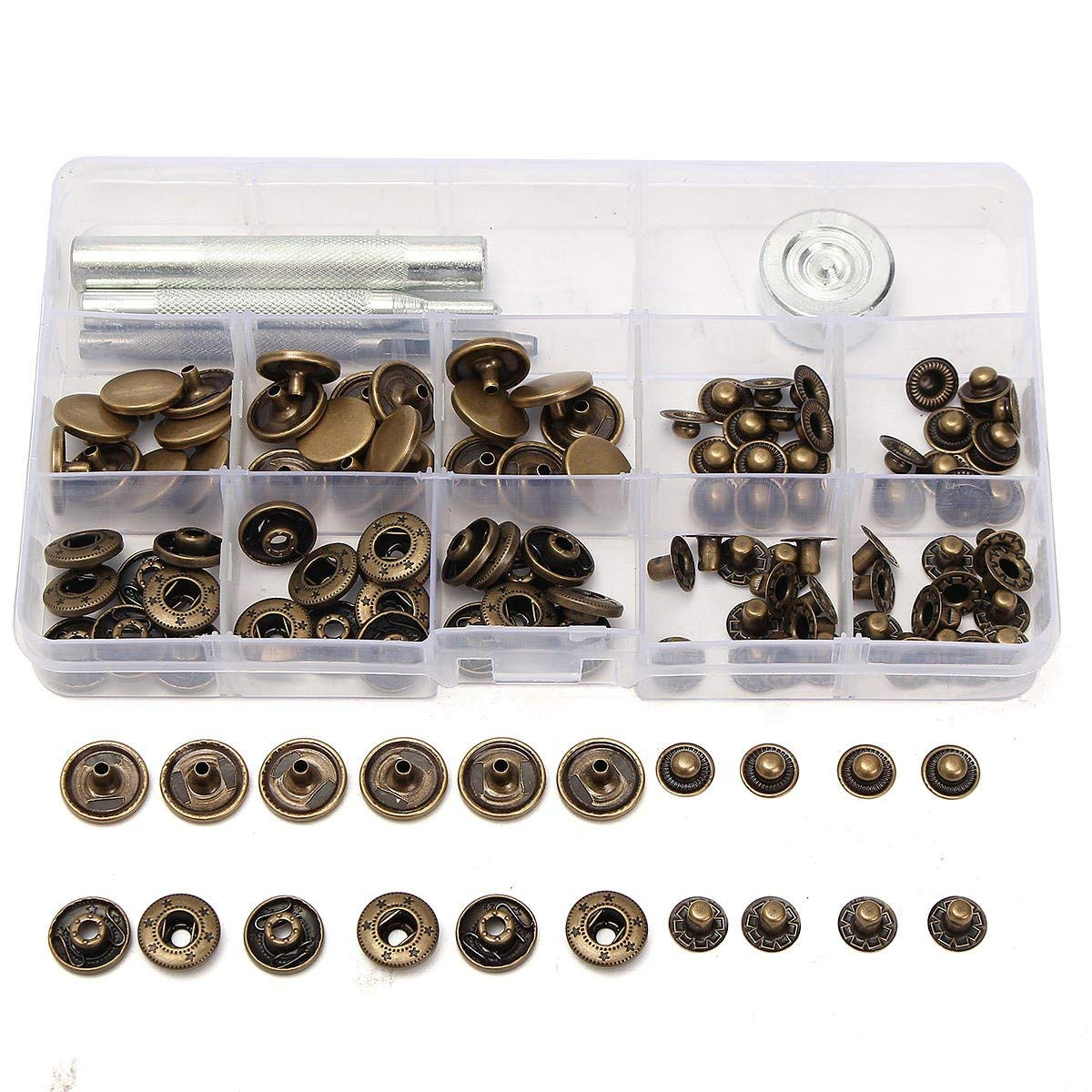 30Set 15mm Antique Snap Fasteners Popper Press Stud Button Leather Kit - Hardware & Accessories Decorative Hardware - 5 x Male Connector Housing, 5 x Female Connector Housing