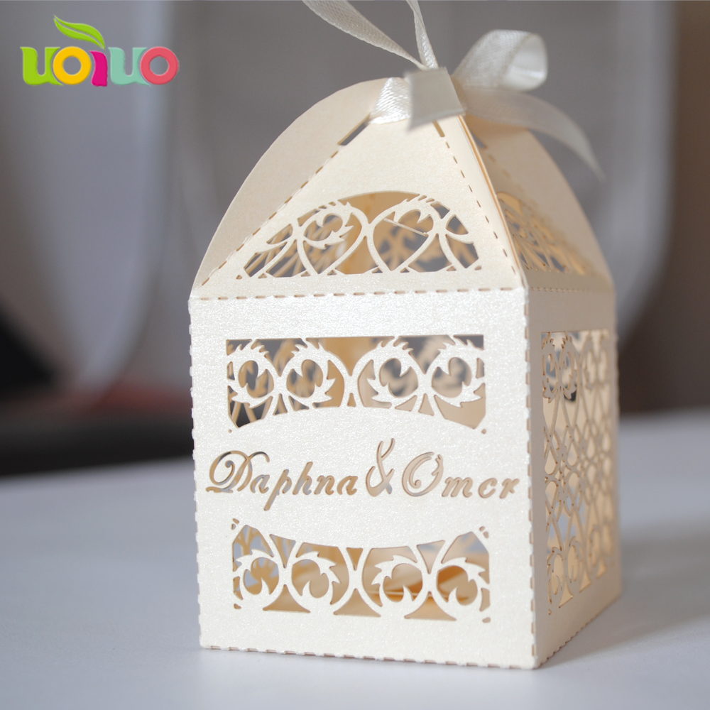 Laser Cut Wedding Favour Box With Ribbon Free Logo 100pieces/lot ...