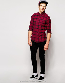 Men S Long Sleeve Slim Fitted Casual Plaid Shirts Mens Red Check