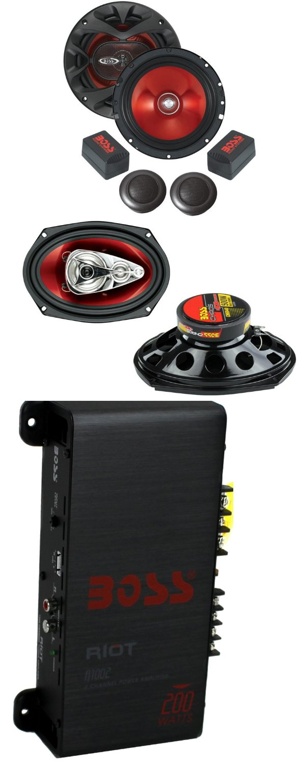 "BOSS CH6940 6x9"" 500W 4-Way+6.5"" 350W 2 Way Car Audio Speakers+2 Ch Amplifier"