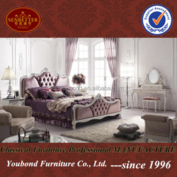YB07 High end teak wood Italian antique white bedroom furniture sets
