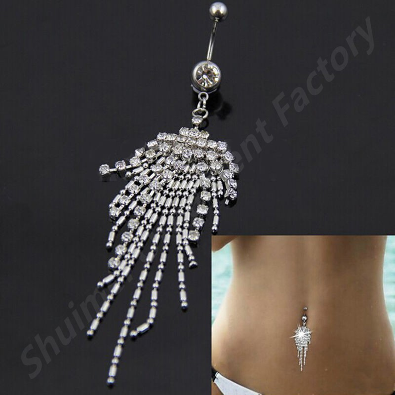 H-S 316l Surgical Steel With Crystal Tassel Navel Dangle Button Belly Ring Bar Piercing For Sexy Women Body Jewelry