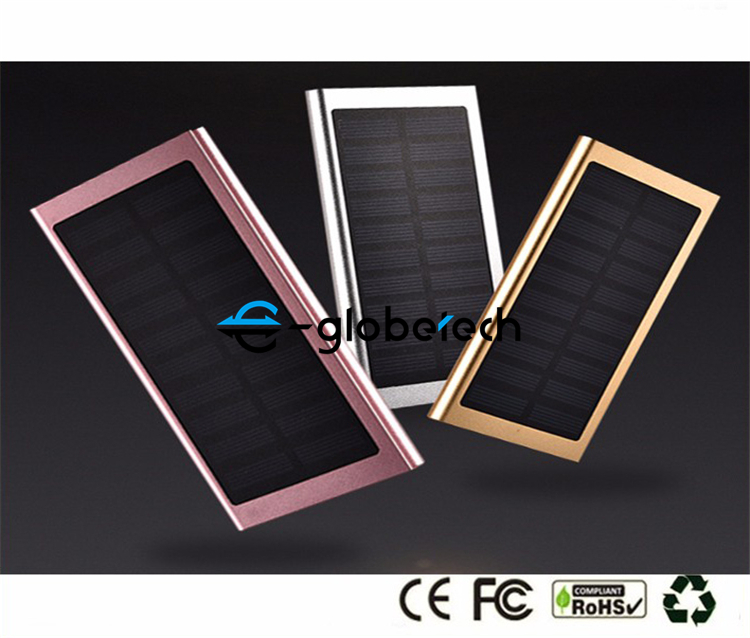 dual usb slim mini portable 20000mah solar powered power bank
