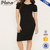 OEM Contrast-Trim Women Bodycon Black Midi T-Shirt Dress