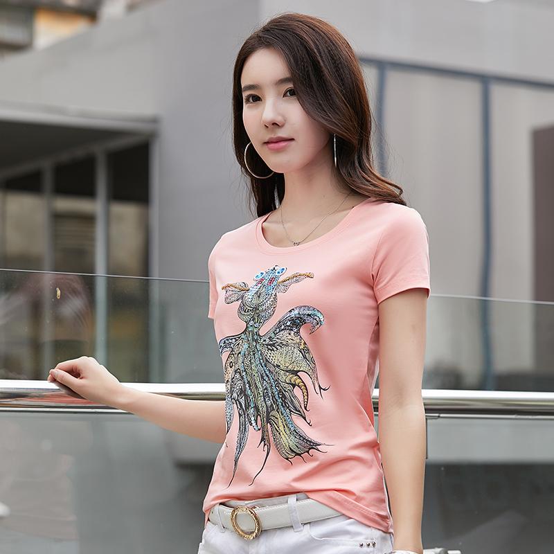 N02015A Mode sauvage col rond chemise en coton à la main perlé poisson  rouge à manches