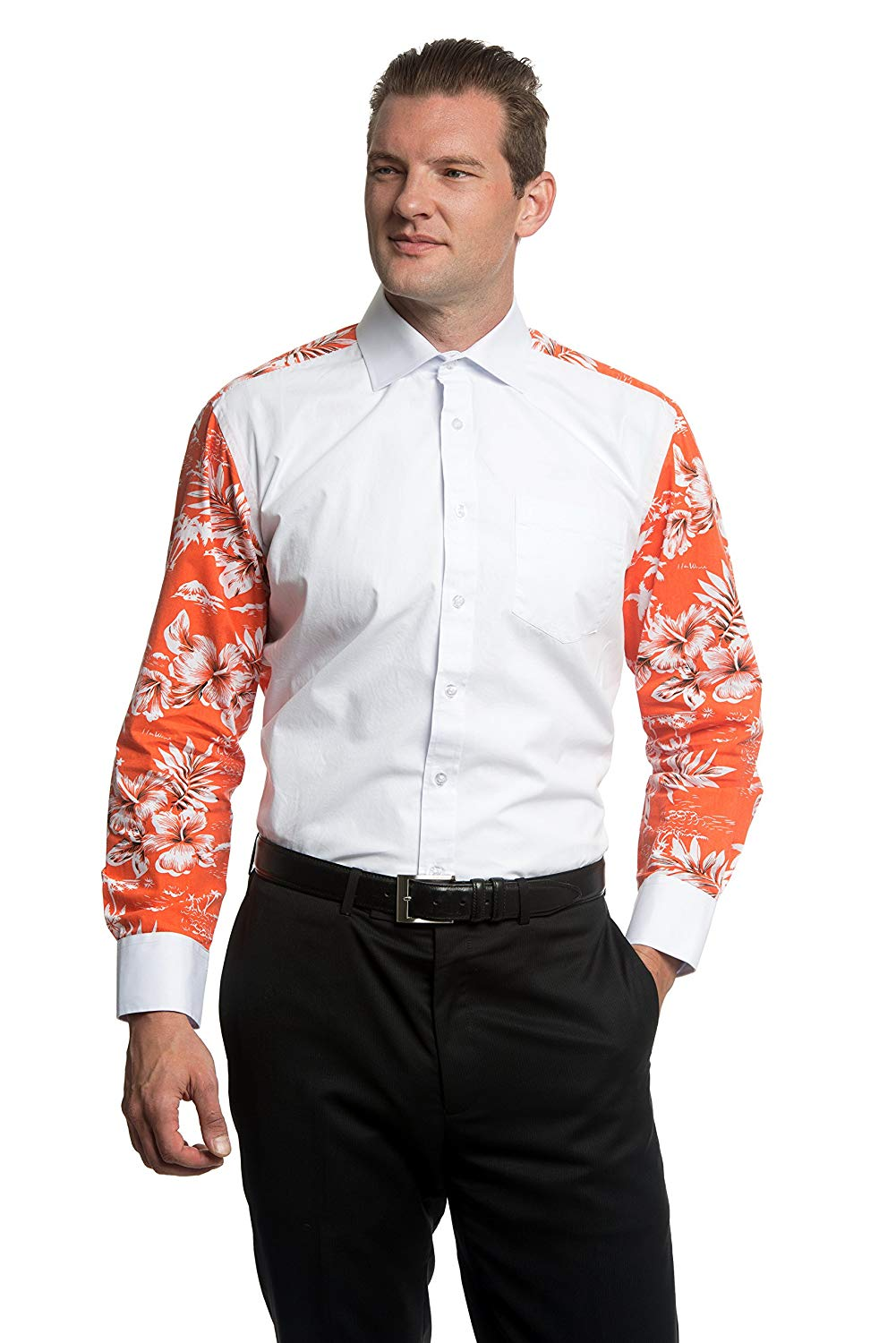 2dc16960dfb Get Quotations · White Dress Shirt and Party Shirt in One - Formal Wear  with Suit or Tuxedo