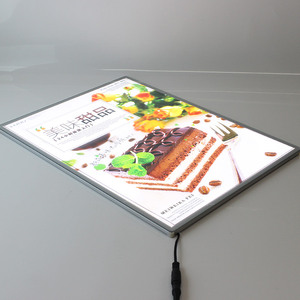Size A3 Aluminum Frame Advertising Picture Insertion LED Light Box with Anti scratching glass panel