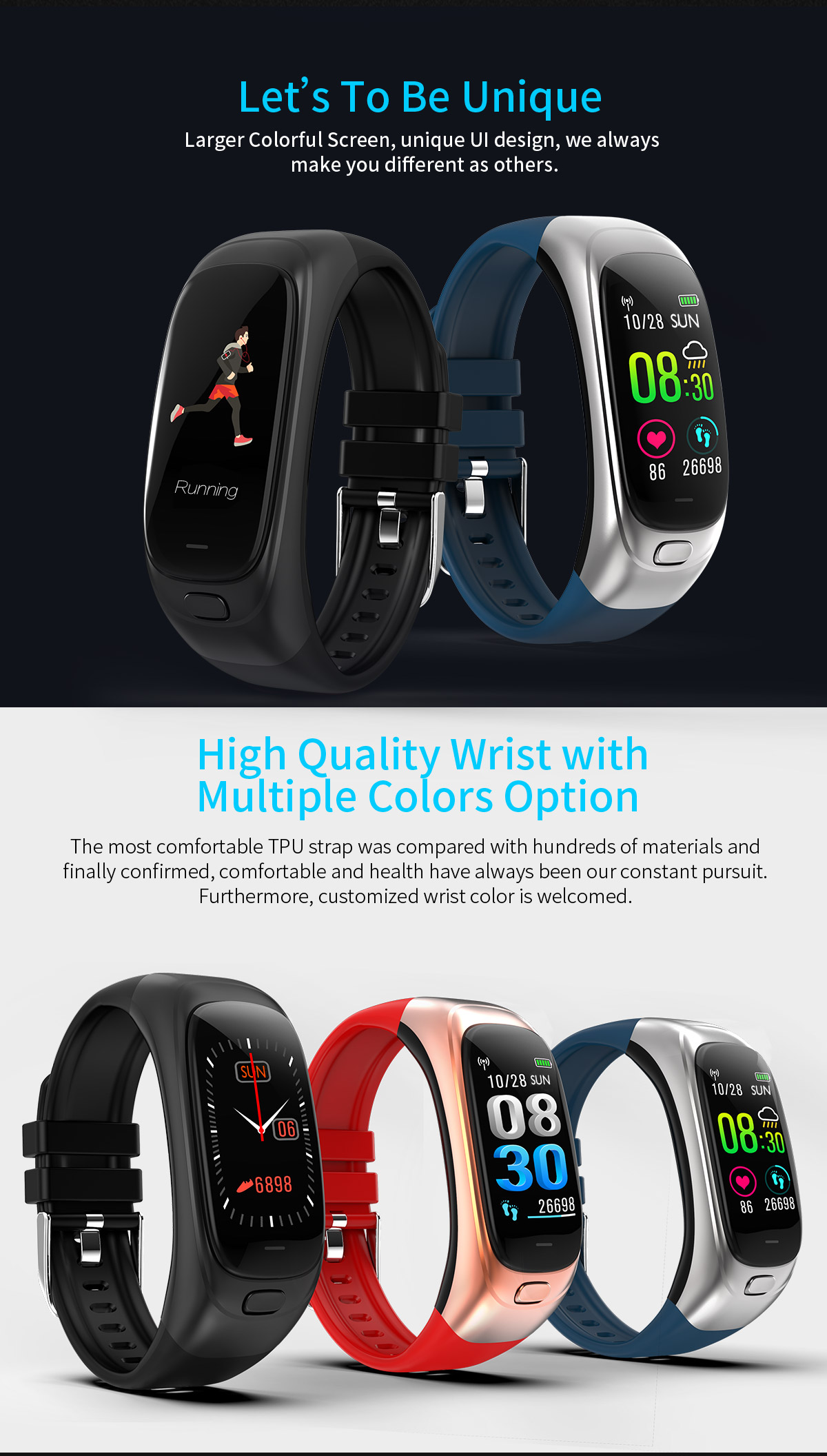 Free Shipping ININ-CES12 smart bracelet blood pressure heart rate monitor ip68 Bluetooth 4.0 pedometer sports smart watch