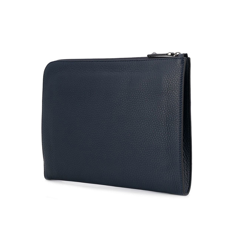 Classical sophisticated styling luxury large zipper around durable man clutch bag genuine leather with an internal zipped pocket