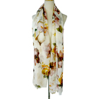 Women Scarf Polyester Voile Flower Printed With Self Tassel Scarf