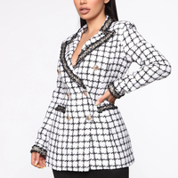Double breasted color block plaids women tweed jacket
