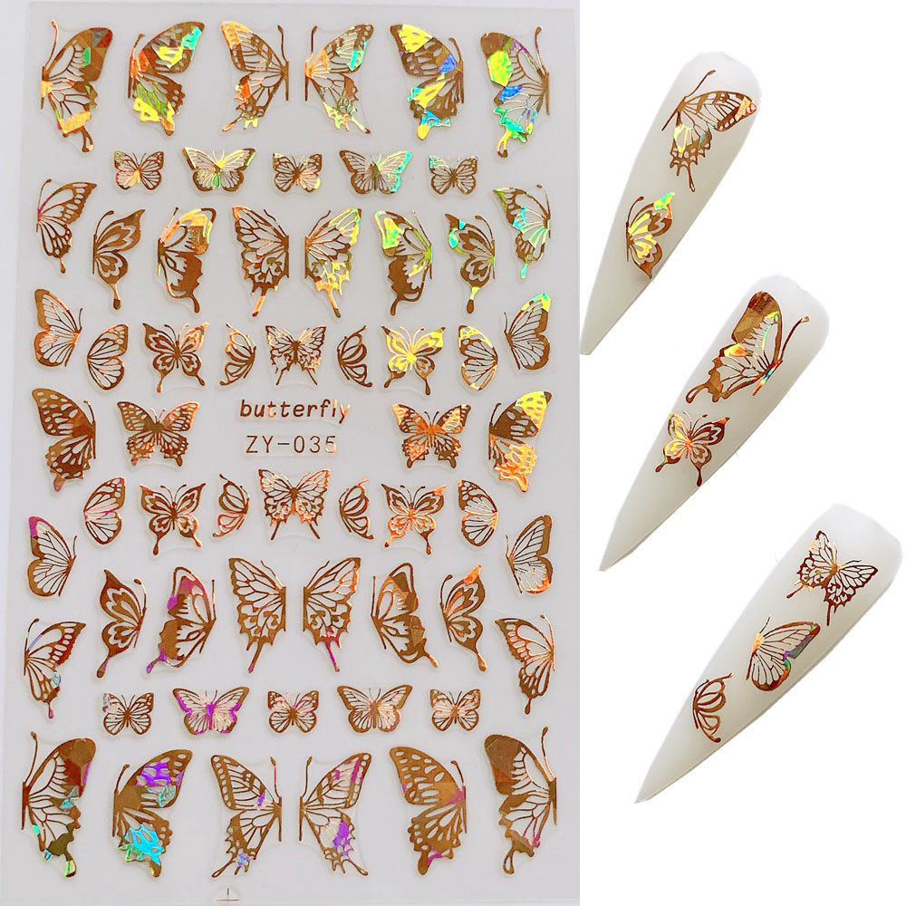 3D Holographic Laser <strong>sticker</strong> butterfly <strong>nail</strong> art <strong>stickers</strong> lv <strong>nails</strong> <strong>stickers</strong>