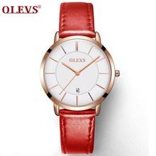 OLEVS женские часы Красные повседневные кожаные женские часы Роскошные Кварцевые женские наручные часы Брендовые Часы ультра тонкая поверхн...(China)