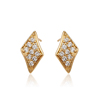 24131 Latest fashionable women jewelry rhombus shaped golden zircon paved stud earrings