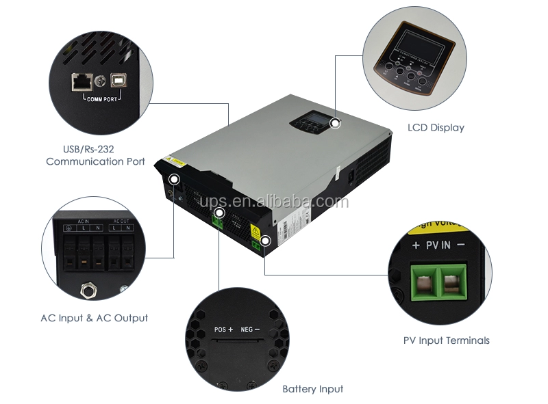 3kw 5kw 24v 48v DC para 220v 230v AC off grid híbrido onda senoidal pura energia solar inversor com mppt controlador embutido 80A