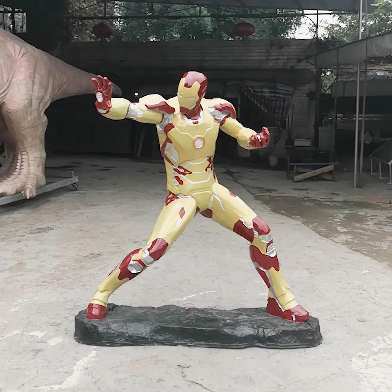 Künstliche Leben Größe Fiberglas Superhero Eisen Mann Skulptur