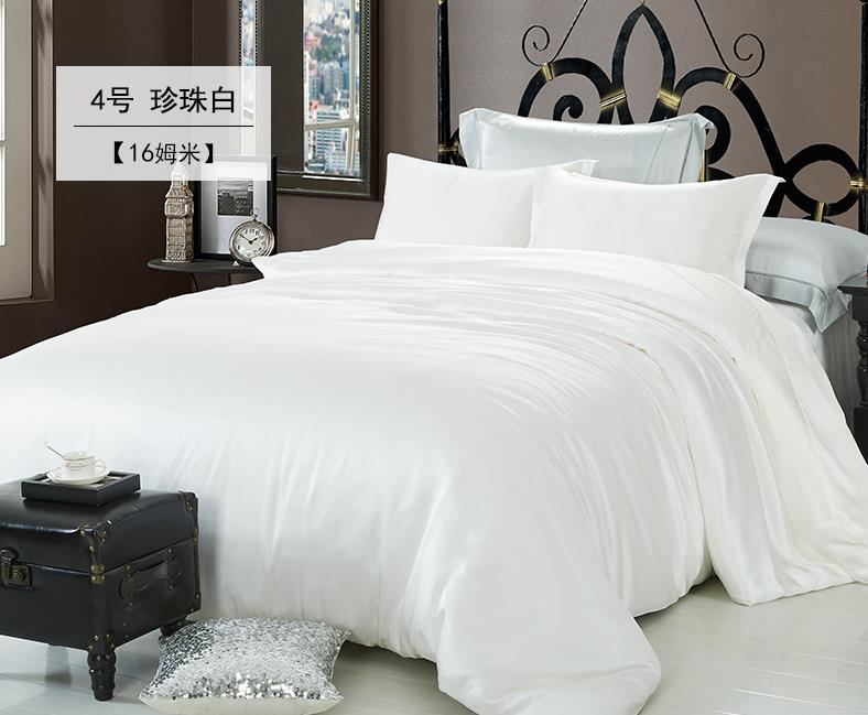Sutra Tidur Set 4 Pcs Mewah Sutra Warna Solid White King Queen Full Twin 100% Mulberry Sutra Kain Dicelup