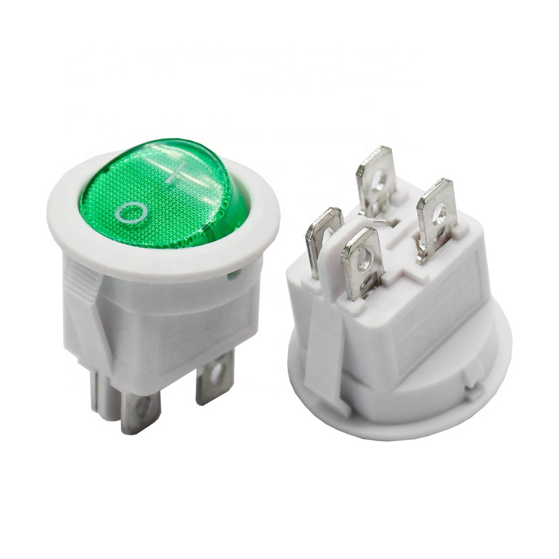 leci rs601 green light 4pin on off round rocker switches