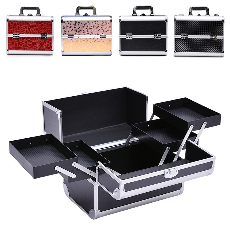 Aluminium rosa harte reise make-up zug kosmetische eitelkeit box /Professional Tragbare Make-Up fall