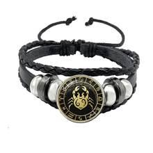 12 созвездий браслет Скорпион Стрелец Козерога Водолей Черная веревка кожаный браслет на пуговицах Зодиак ювелирные изделия для подарка(Китай)