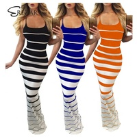 Best price European women's sexy digital printing strap sleeveless striped dress multicolor Party Plus Size Dress
