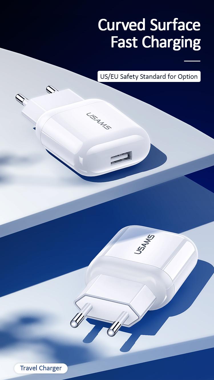 Usams US-CC078 T19 Original Single USB 5V2.1A Travel Wall Charger for US and EU Plug Charger Adapter