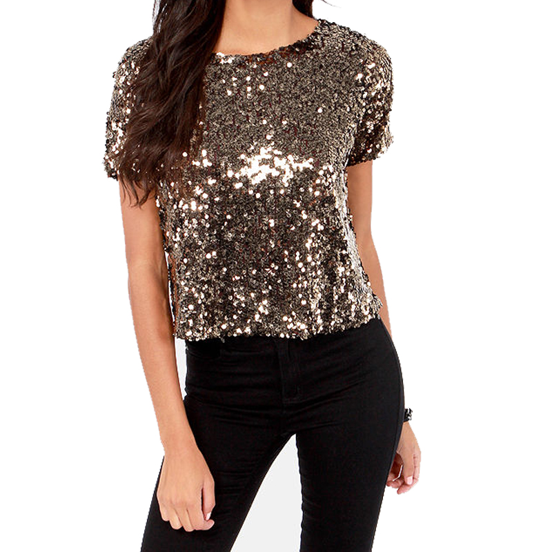 Round neck short sleeve crop sequin tops blouses for women clothing