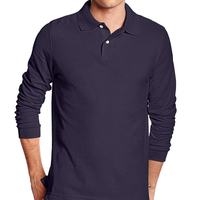 long sleeve polo t shirt 100% cotton men