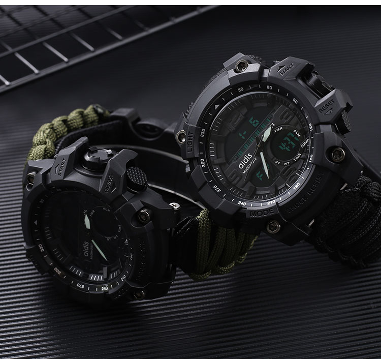 Top Brand AIDIS MY-1605 Men Watch Waterproof Multi-function Sports Military Watches LED Digital Electronic Watch Quartz Watch