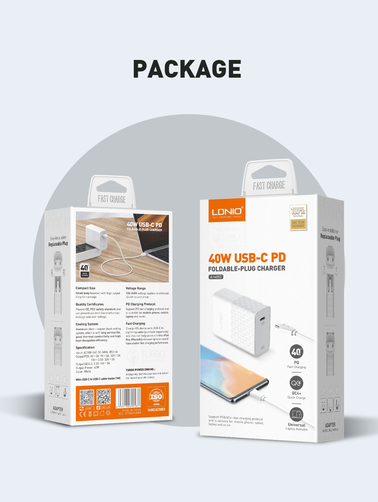LDNIO A1405C QC4 + USB-C de carga rápida cargador de pared de 40W PD USB cargador para iphone11