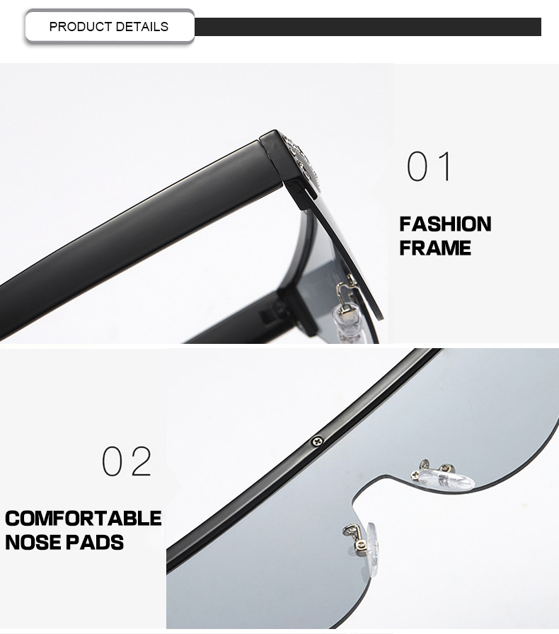 2019 Style Semi Rimless Diamond One Piece  Women Men Sunglasses