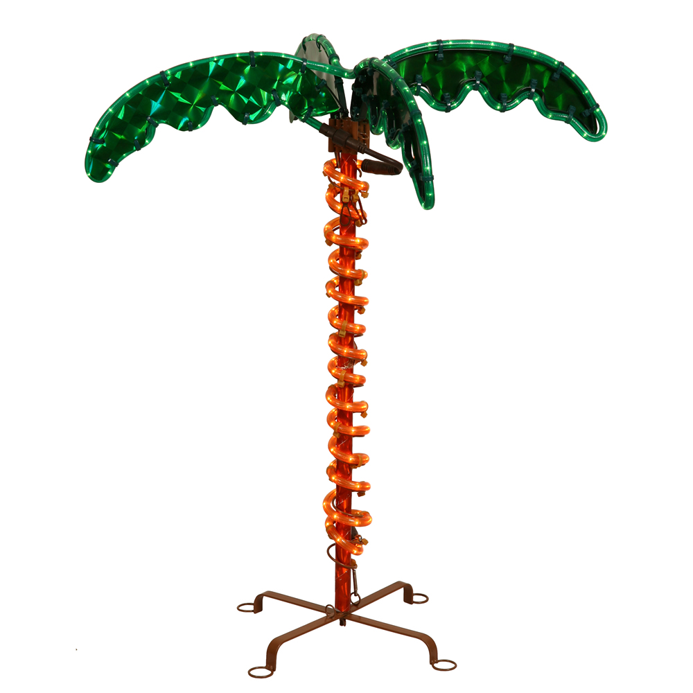 7 Tropical Lighted Holographic เชือกในร่มกลางแจ้งปาล์มต้นไม้ตกแต่ง YARD