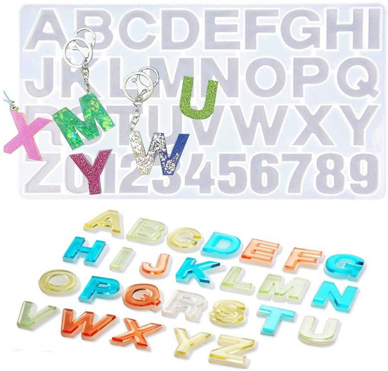 Amazon Hot Reversed Letter and Alphabet Number Resin <strong>Mold</strong>,Jewelry Keychain Making Epoxy <strong>Molds</strong>,Craft Casting <strong>Molds</strong> Set Kit