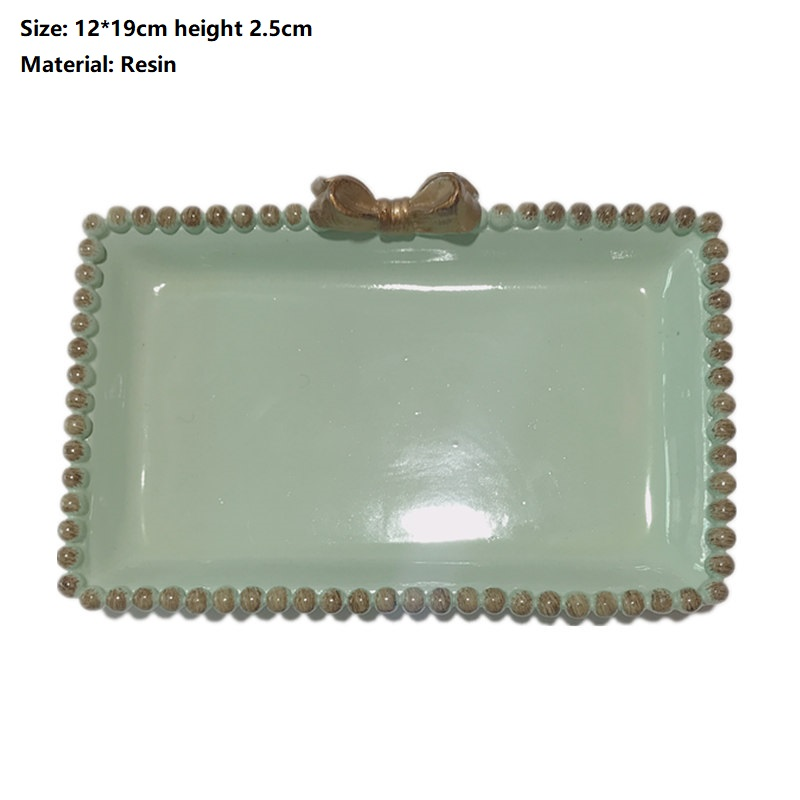 Creative Bow Storage Ceramic/Resin Square Trinket Dish Breakfast Fruit Western Decorative Good Dessert Tray