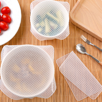 4pcs Set to Keep Food Fresh Transparent Reusable Food Wrap Stretch Film Silicone Cling Film