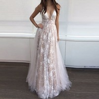 wholesale elegant long floral lace lady party wedding night evening dresses for women