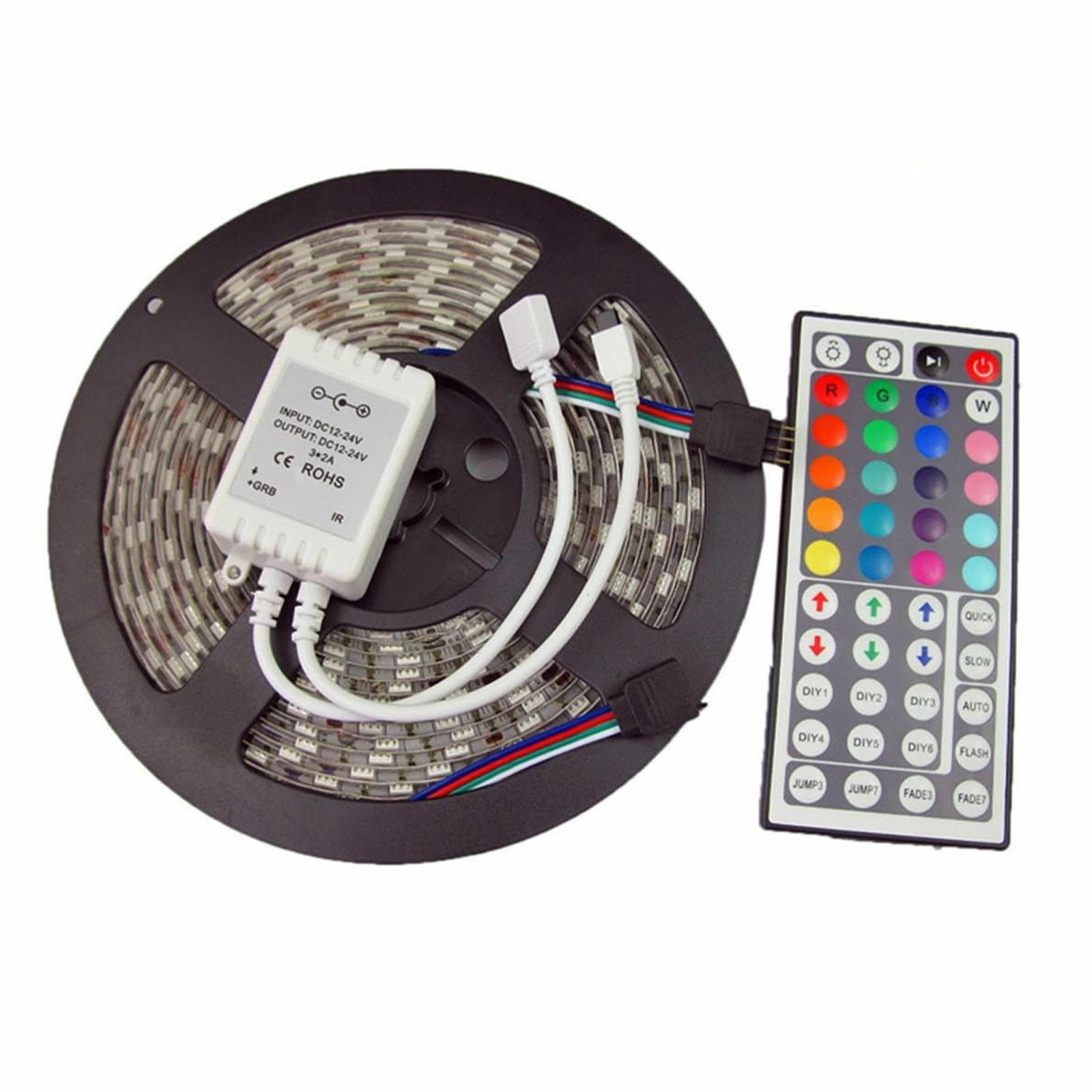 5M 5050 SMD Led Strip 12V Waterproof RGB Led Strip Light 300 Led 44 Key IR RF Remote Adapter Power Supply Full Kit
