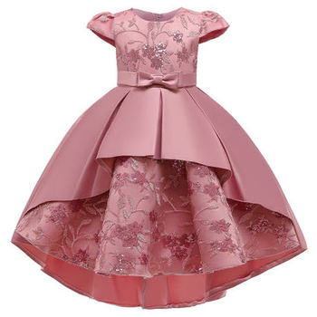 Girls Kids Red Satin Dress Wedding Party Vest Satin Dresses Princess Evening Girl Dresses For 3-7 Years