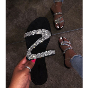 2020 Popular Women's Sandals Diamond Slipper Slide with Rhinestone Design