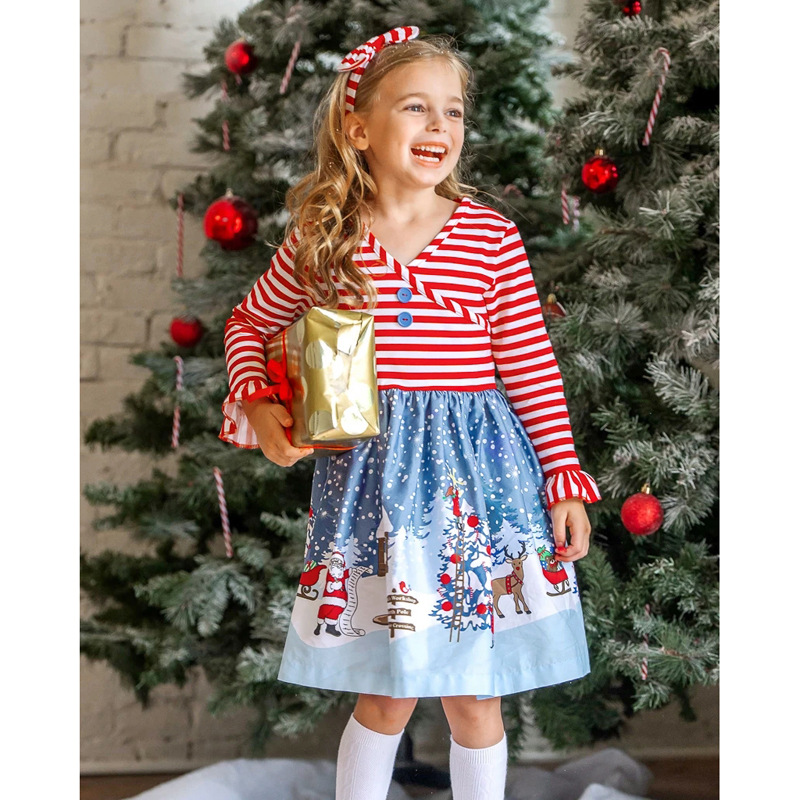 Hot sale USA fashion wholesale baby girls red snowman print dress clothing Christmas cartoon applique kids dress