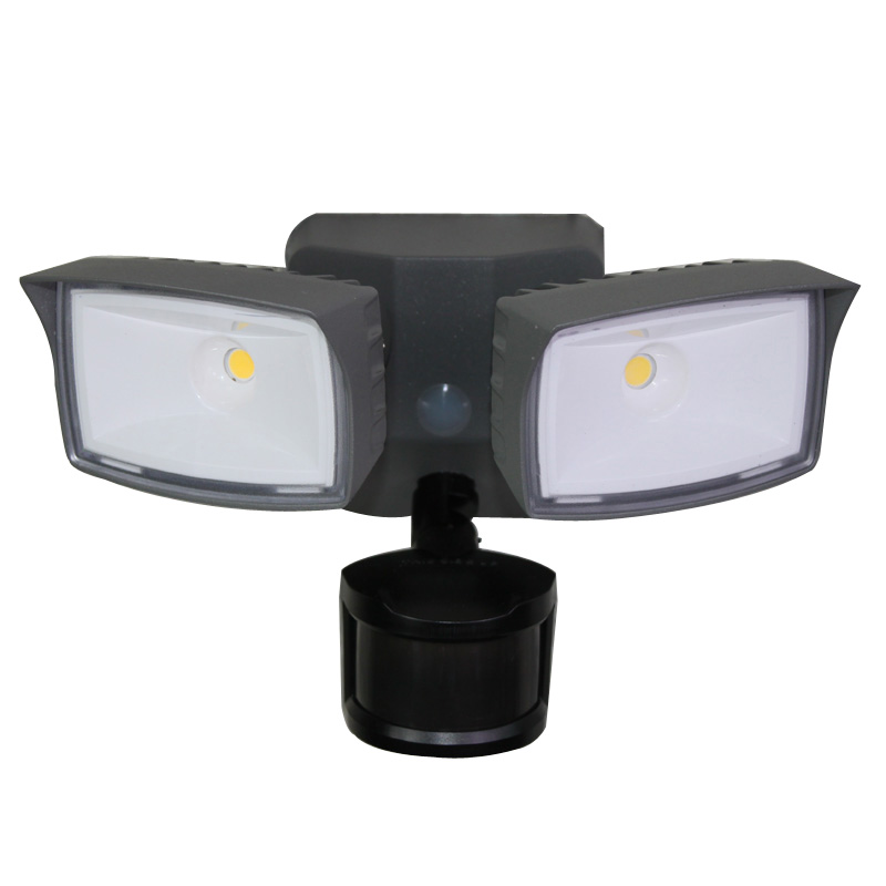 LED Twin Heads Floodlight 2 x 10W LED with Motion Sensor Garden Security Light
