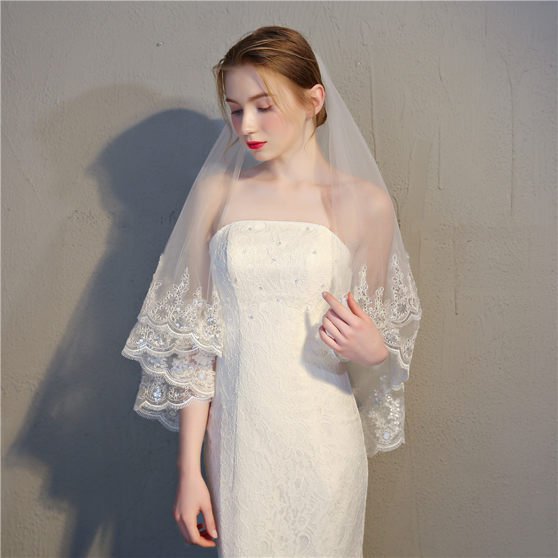 Fashion Latest Short Tulle Wedding Bridal Veil Lace women Wedding Veil 2020